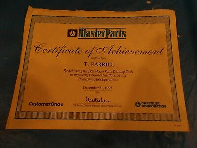 "12/31/1995 Chrysler Original ""master Parts Certificate Of Achievement""!!"