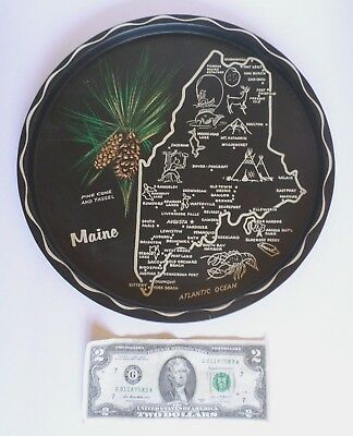 "Vintage 11"" Maine State Souvenir Metal Round Serving Tray - Matte Finish"