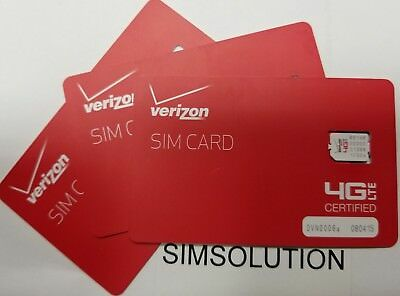 Verizon Wireless 4G LTE NANO SIM Card 4FF for iPhone 5/5s 6/6+ 6s/6s+ 7/7+ 8/X