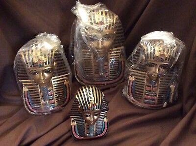 Lot of 4 Egyptian Ancient Pharaoh King Tut Bust Mask Home Decor Figurine Statues