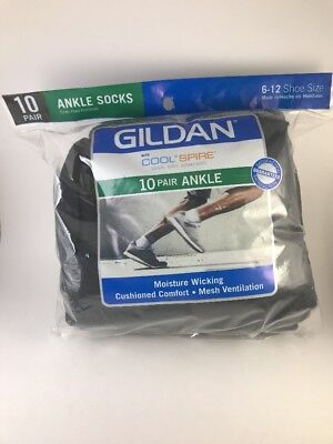 Gildan Platinum Ankle Socks. With Cool Spire Size 6-12. 10 Pair