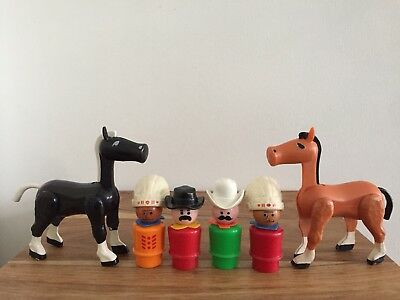 Vintage Fisher Price Western Town Little People Sheriff Chief Black Brown Horses