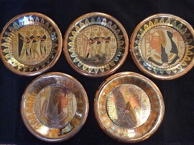 Five Vintage Egyptian Etched Metal Wall Plaque Plate Dish From Egypt