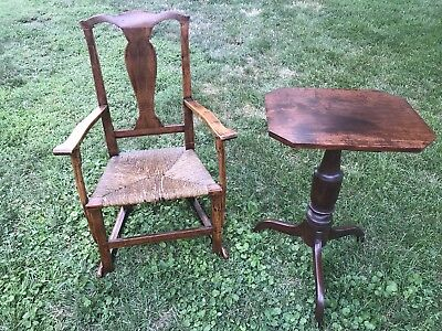 Bench Made Country Chippendale American 1700's Chair Arm Rocking 18th C Boston