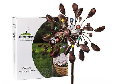 SteadyDoggie Sports & Outdoors Solar Wind Spinner New 75in Jewel Cup...