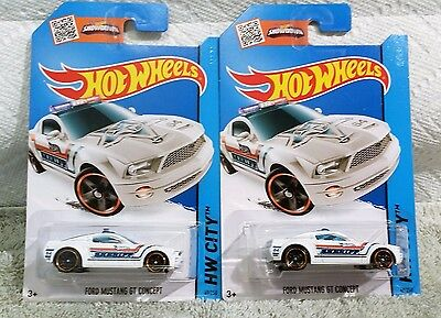 2015 Hot Wheels Ford Mustang GT Concept - SHERIFF - Satin White No 49 - Set of 2