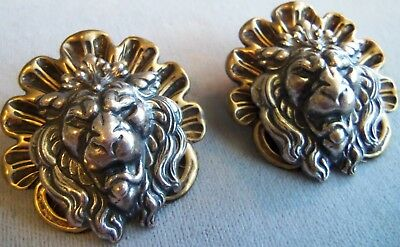 Large Antique Brass and Silver   Angry Lion Pierce Earrings estate jewelry