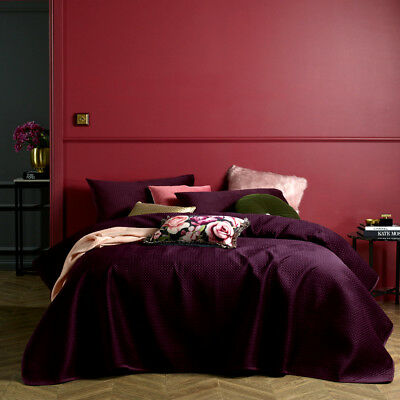 3P QUEEN KING COVERLET BEDSPREAD Set PURPLE Heat Embossed Quilted Effect