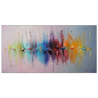 Huge Abstract Hand-Painted Oil Painting Jumping Color Home Decor Wall Art Canvas