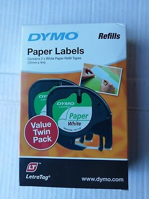 DYMO LetraTag Tape Paper on White Label -2 Pack ,12mm X 4m, 92630