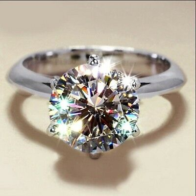 Silver Plated Gemstone Rhinestone Ring Fashion Women Jewelry Ring Gift Size 6-10