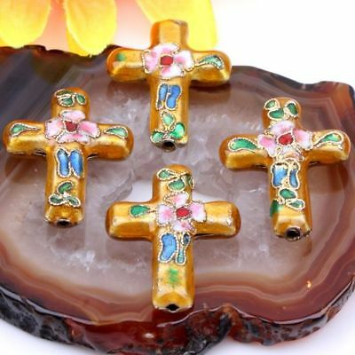 Wholesale 5pc Yellow Craft Cloisonne Enamel Cross Beads