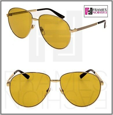 7fe052bde GUCCI WEB 0138 Gold Metal Etched Aviator Yellow Sunglasses 2280 GG0138  Unisex