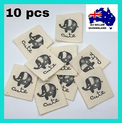 CLOTH LABELS 10pcs, Clothing DIY Label, Sew On, Elephant Label, Handmade Project