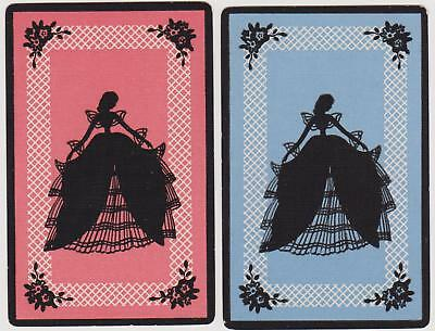 Swap/Playing Cards ~ SILHOUETTE OF LADY IN PRETTY GOWN ~ Vintage Linen Pair