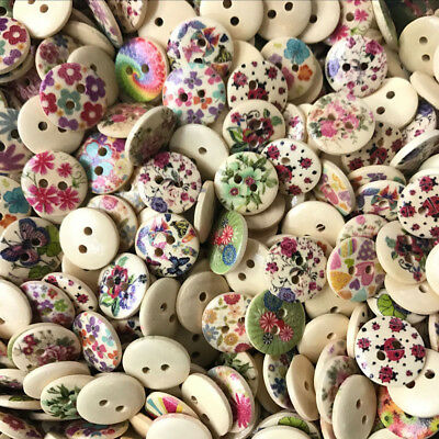 100Pcs/lot Print Flower Wood Button 2 Holes Mixed Color Apparel Sewing DIY Gift