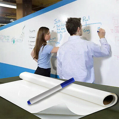 2m x 60cm DRY WIPE Removable Whiteboard Vinyl Wall Sticker Office Home &3 Marker