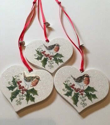 3 X Robin Holly Christmas Hanging Decorations Country Shabby Chic Rustic