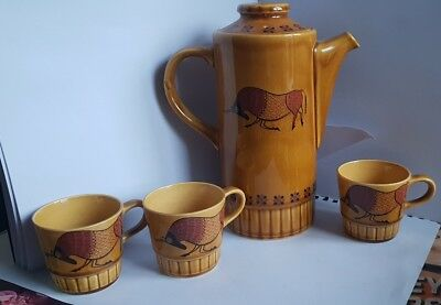 Vintage Royal Worcester Palissy Taurus pattern tall coffee pot and 3 cups