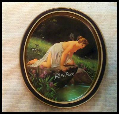 Vintage White Rock Oval Tin Tray Nude Fairy Leaning Over Rock
