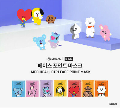BT21 BTS X MEDIHEAL FACE POINT MASK Sheet + Post Card + Bookmark