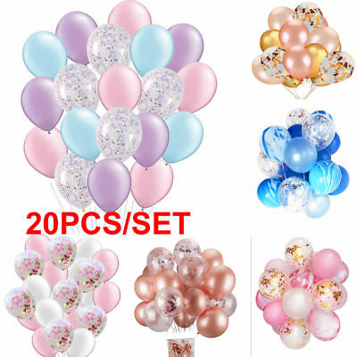 "20pcs 12"" Confetti Latex Balloon Helium Birthday Wedding Hen Party Baby Shower"