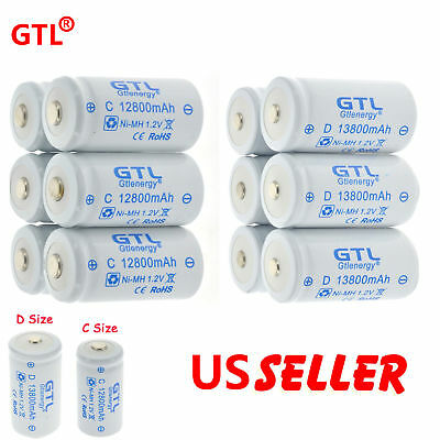 GTL Ni-MH C D Size Cell Rechargeable Batteries High Capacity 12800/13800 mAh US