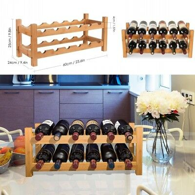 HOMFA 12 Bottle Wooden Shelf Wine Storage Display Holder Home 2 tiers Stand Rack
