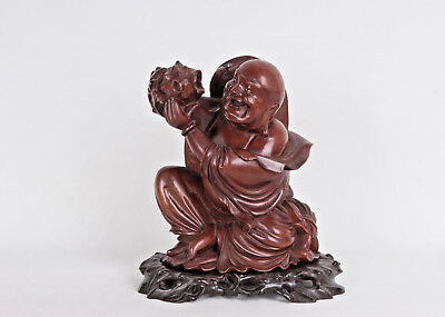 China 20. Jh. Große Holzfigur - A Chinese Hardwood Figure Of Budai - Chinois