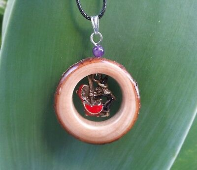 Witch and Cauldron Necklace,rustic,witchy,amethyst,wood,wicca,pagan,witchcraft