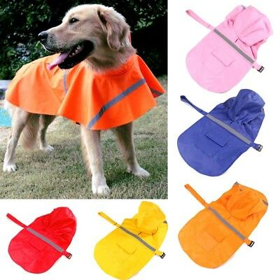 Pet RainCoat Dog Puppy Waterproof Reflective Outdoor Jacket Hooded Rainwear