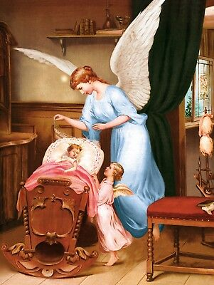 Religious Poster Of Guardian Angel With An Infant Icone Schutzengel
