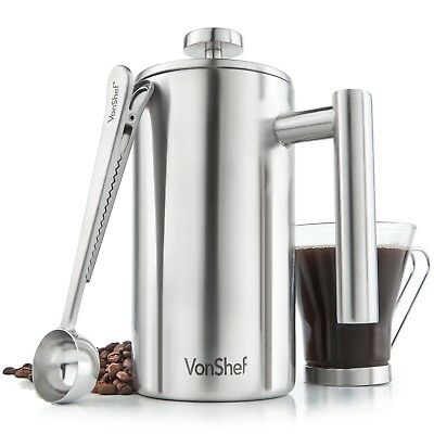 VonShef Double-Wall Satin Brushed Stainless Steel French Press - 6 Cup 27fl oz