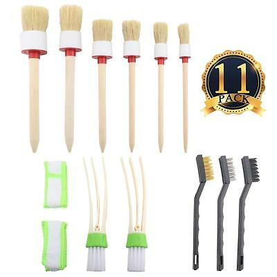 11x/Set Car Detailing Brushes Cleaning Dash Trim Seats Wheels Conditioner Tools