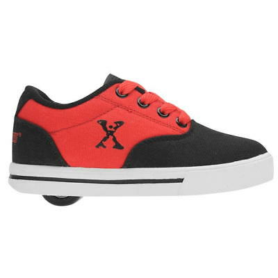Boys Girls Sidewalk Sports Kids Wheeled Lace Up Black Red Canvas Trainers