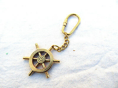 Antique Vintage Solid brass Wheel key chain keyring pendant mini weapon key gift