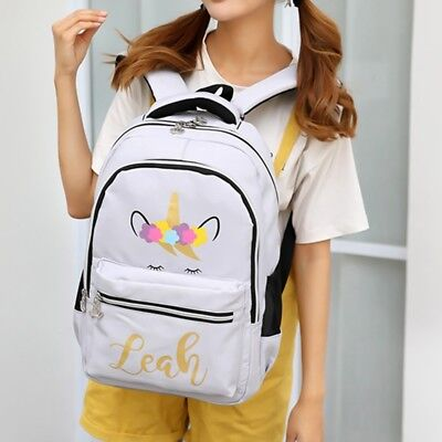 Fashion Unicorn Pattern Canvas Backpack Girls Rucksack Travel School Bag New