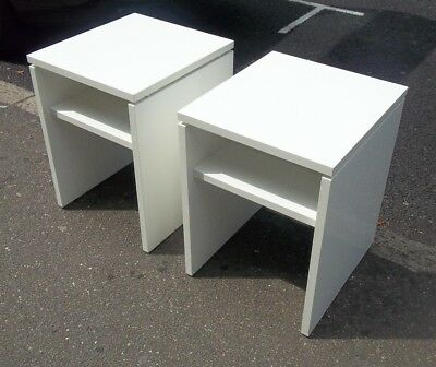 Pair of modern white high gloss finish bedside tables good quality