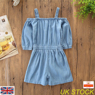 UK Toddler Baby Girl Cowboy Style Denim Slip Jumpsuit Romper Sunsuit Clothes