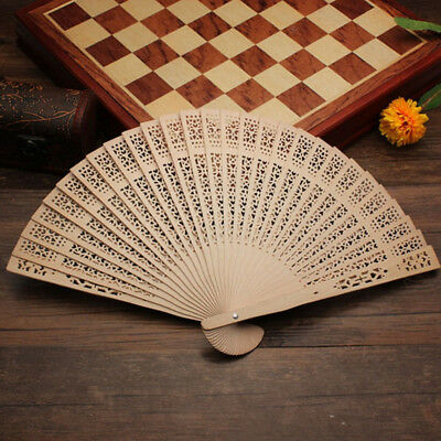 Hot Charming Women Vintage Style Wooden Carved Wedding Party Folding Hand Fan