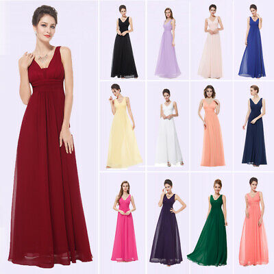 Ever-Pretty US Long Bridesmaid Dresses Chiffon V-Neck Formal Party Dresses 08110