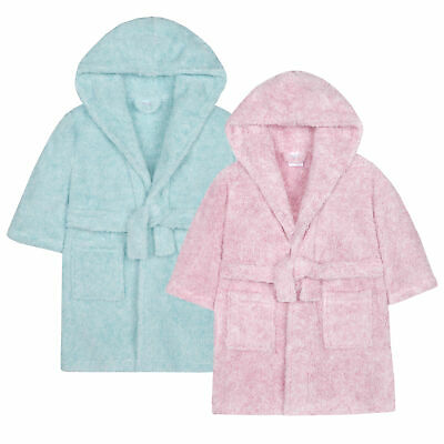 Infant Girls Two Tone Snuggle Dressing Gown Robe Soft Plush Fleece Hooded Fluffy