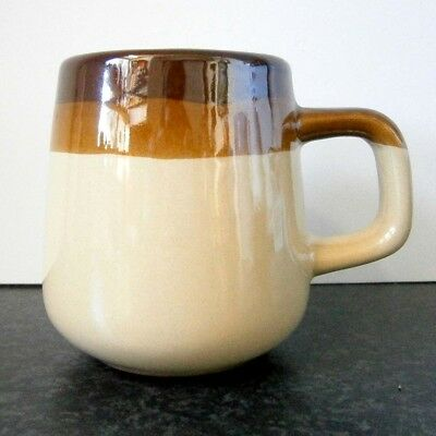 70s VINTAGE TAIWANESE STONEWARE BROWN STRIPED MUG - TWO AVAILABLE