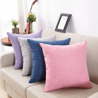 Simple Solid Linen Cotton Throw Pillow Cases Cafe Sofa Cushion Cover Room Decor