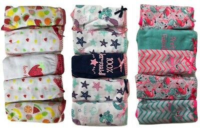 Girls Kids Pack of 5 Soft Comfortable Panties Brief Cotton Underwear Size 2-13 Y