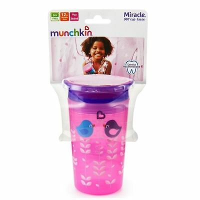 Munchkin Miracle 360 Sippy Cup Pink Birds 266ml 1 2 3 6 12 Packs