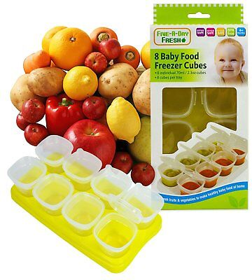 8 Baby Weaning Food Freezing Cubes Pots Freezer Storage Containers BPA Free