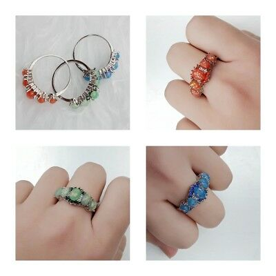 Jewelry Fashion Women Silver Plated Crystal Stone Engagement Ring Gift Size 6-10