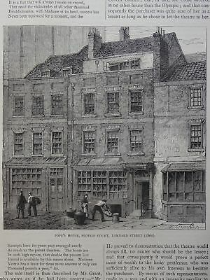 London LOMBARD STREET - POPE'S HOUSE, PLOUGH COURT Original Victorian Print 1878