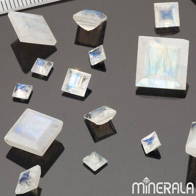 [Wholesale] Natural Rainbow Moonstone Faceted Square Gemstone Various Sizes